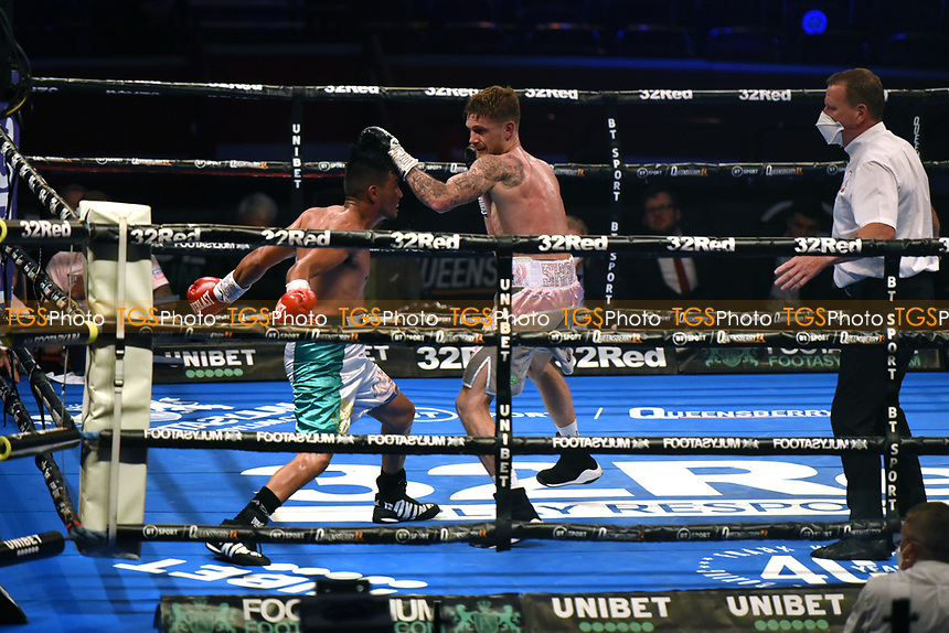 Archie Sharp (grey shorts) defeats Diego Andrade during a Boxing Show at the Royal Albert Hall on 10th July 2021