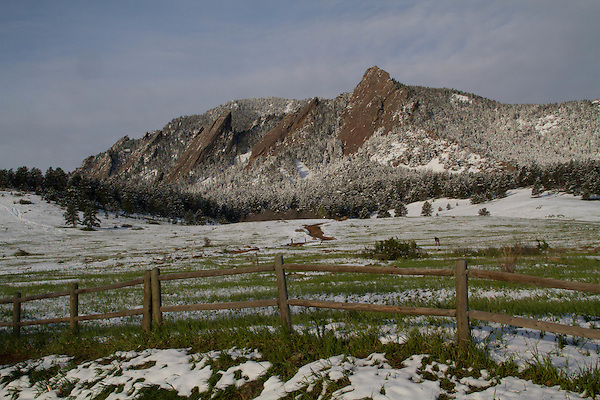 Spring snowstorm in Boulder, Colorado, USA. John leads private photo tours in Boulder, Denver and Rocky Mountain National Park, Year-round.