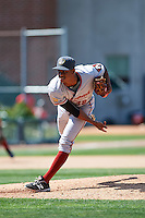 Altoona Curve relief pitcher Edgar Santana (38) follows through on a pitch during a game against the Erie SeaWolves on July 10, 2016 at Jerry Uht Park in Erie, Pennsylvania.  Altoona defeated Erie 7-3.  (Mike Janes/Four Seam Images)