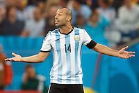Javier Mascherano of Argentina shouting