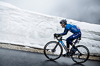 Antonio Pedrero (ESP/Movistar) coming over the Passo Giau<br /> <br /> due to the bad weather conditions the stage was shortened (on the raceday) to 153km and the Passo Giau became this years Cima Coppi (highest point of the Giro).<br /> <br /> 104th Giro d'Italia 2021 (2.UWT)<br /> Stage 16 from Sacile to Cortina d'Ampezzo (shortened from 212km to 153km)<br /> <br /> ©kramon
