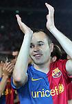 Andreas Iniesta celebrates. Barcelona v Osasuna (0-1), La Liga, Nou Camp, Barcelona, 23rd May 2009.