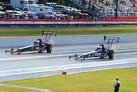 May 15, 2011; Commerce, GA, USA: NHRA top fuel dragster driver Terry McMillen (left) takes the win over Brandon Bernstein during the Southern Nationals at Atlanta Dragway. Mandatory Credit: Mark J. Rebilas-