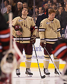 Patrick Wey (BC - 6), Michael Matheson (BC - 5) - The Boston College Eagles defeated the Northeastern University Huskies 6-3 for their fourth consecutive Beanpot championship on Monday, February 11, 2013, at TD Garden in Boston, Massachusetts.