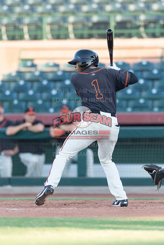 AZL Giants Orange center fielder Randy Norris (1) at bat during an Arizona League game against the AZL Rangers at Scottsdale Stadium on August 4, 2018 in Scottsdale, Arizona. The AZL Giants Black defeated the AZL Rangers by a score of 3-2 in the first game of a doubleheader. (Zachary Lucy/Four Seam Images)