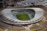 O antigo Estádio Olimpico do Pará, conhecido como  Mangueirão, foi inaugurado em 1978. Hoje com capacidade de público diminuída  de 70 mil para os atuais 54.600 espectadores sentados ainda conta pista olímpica oficial para competições de atletismo e estacionamento com 5.076 vagas. Foto Paulo SantosBelém, Pará Brasil.27/10/2007