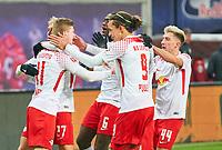 Timo WERNER, RB Leipzig 11 celebration 2-1. and Konrad LAIMER, RB Leipzig 27  Yussuf POULSEN, RB Leipzig 9 Kevin KAMPL, RB 44 Ibrahima KONATE, RB Leipzig 6 <br /> RB LEIPZIG - FC BAYERN MUENCHEN  <br /> Football 1. Bundesliga , Leipzig,18.03.2018, 27. match day,  2017/2018, , Red Bull, Bullen, <br />  *** Local Caption *** © pixathlon<br /> Contact: +49-40-22 63 02 60 , info@pixathlon.de