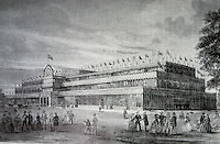 Technology:  London-- Crystal Palace, 3/4 view. Erected in Hyde Park in London to house The Great Exhibition of 1851. Designed by Joseph Paxton to show latest technology of Ind. Revolution.
