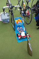25 MAY 2014 - BRIGG, GBR - A competitors equipment stand in transition during the World Quadrathlon Federation 2014 Middle Distance World Championships at the Brigg Bomber in Brigg, Lincolnshire in Great Britain (PHOTO COPYRIGHT © 2014 NIGEL FARROW, ALL RIGHTS RESERVED)