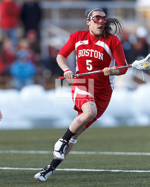 Boston University attacker Elizabeth Morse (5)..Boston College (white) defeated Boston University (red), 12-9, on the Newton Campus Lacrosse Field at Boston College, on March 20, 2013.