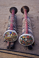 Akadaney, Central Niger, West Africa.  Fulani Nomads.  Portable Bed Components Ready for Loading on Donkeys for Transport.
