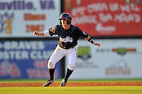 Shortstop Marcus Mooney (14) of the Danville Braves runs the bases in a game against the Johnson City Cardinals on Friday, July 1, 2016, at Legion Field at Dan Daniel Memorial Park in Danville, Virginia. Johnson City won, 1-0. (Tom Priddy/Four Seam Images)
