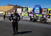 Jul. 27, 2014; Sonoma, CA, USA; NHRA top fuel dragster drive Shawn Langdon after coming in as runner-up at the Sonoma Nationals at Sonoma Raceway. Mandatory Credit: Mark J. Rebilas-