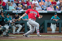 Cody Ramer #13 of the Arizona Wildcats bats during a College World Series Finals game between the Coastal Carolina Chanticleers and Arizona Wildcats at TD Ameritrade Park on June 27, 2016 in Omaha, Nebraska. (Brace Hemmelgarn/Four Seam Images)