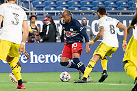 FOXBOROUGH, MA - MAY 16: Teal Bunbury #10 of New England Revolution near the Columbus SC goal during a game between Columbus SC and New England Revolution at Gillette Stadium on May 16, 2021 in Foxborough, Massachusetts.