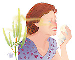 Illustration of young woman sneezing from pollen allergy