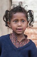Pashupatinath, Nepal.  Young Nepali Girl at Nepal's Holiest Hindu Temple.