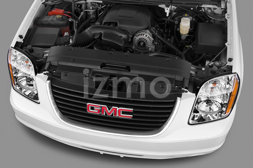 High angle engine detail of a 2012 GMC Yukon SLE  .