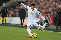 Martin Olsson of Swansea City takes a cross during the Premier League match between Swansea City and West Ham United at The Liberty Stadium, Swansea, Wales, UK. Saturday 03 March 2018