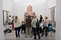 Sadie Lee talking about the portrait of Zoe Wendle by Jason Brooks, State Secondary school visit to the National Portrait Gallery, London.