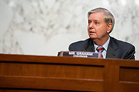 United States Senator Lindsey Graham (Republican of South  Carolina), Chairman, US Senate Judiciary Committee speaks in a business meeting on the fourth day of the confirmation hearing for Judge Amy Coney Barrett, President Donald Trump's Nominee for Supreme Court, in Hart Senate Office Building in Washington DC, on October 15th, 2020.<br /> Credit: Anna Moneymaker / Pool via CNP /MdeiaPunch