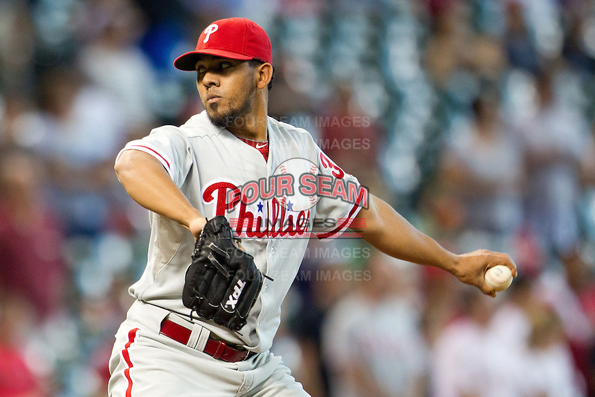 Philadelphia Phillies pitcher Antonio Bastardo #37 delivers during the Major League baseball game against the Houston Astros on September 16th, 2012 at Minute Maid Park in Houston, Texas. The Astros defeated the Phillies 7-6. (Andrew Woolley/Four Seam Images).