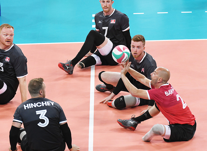 Austin Hinchey, Mickael Bartholdy, Doug Learoyd, and Bryce Foster, Lima 2019 - Sitting Volleyball // Volleyball assis.<br /> Canada competes in men's Sitting Volleyball // Canada participe au volleyball assis masculin. 24/08/2019.
