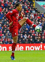 Liverpool's Virgil van Dijk<br /> <br /> Photographer Alex Dodd/CameraSport<br /> <br /> The Premier League - Liverpool v Burnley - Sunday 10th March 2019 - Anfield - Liverpool<br /> <br /> World Copyright © 2019 CameraSport. All rights reserved. 43 Linden Ave. Countesthorpe. Leicester. England. LE8 5PG - Tel: +44 (0) 116 277 4147 - admin@camerasport.com - www.camerasport.com