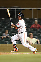 Salt River Rafters infielder Rio Ruiz (30) during an Arizona Fall League game against the Peoria Javelinas on October 17, 2014 at Salt River Fields at Talking Stick in Scottsdale, Arizona.  The game ended in a 3-3 tie.  (Mike Janes/Four Seam Images)