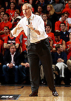 CHARLOTTESVILLE, VA- NOVEMBER 29: Head coach John Beilein of the Michigan Wolverines reacts to a play during the game on November 29, 2011 at the John Paul Jones Arena in Charlottesville, Virginia. Virginia defeated Michigan 70-58. (Photo by Andrew Shurtleff/Getty Images) *** Local Caption *** John Beilein