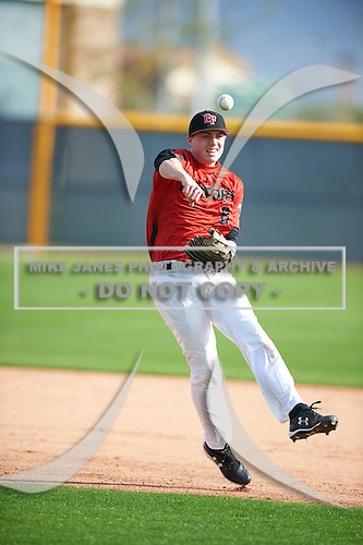 Steven Miller (8) of North Hills High School in Pittsburgh, Pennsylvania during the Under Armour All-American Pre-Season Tournament presented by Baseball Factory on January 14, 2017 at Sloan Park in Mesa, Arizona.  (Mike Janes/Mike Janes Photography)