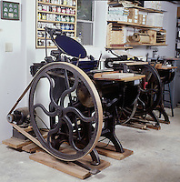 Antique platen press - Chandler & Rice Press, Cleveland, 1889. When possible, please credit -  Photo by Bill Parsons Collection of John C. Horn Mira.. John C. Horn Collection of Antique Printing Presses. Arkansas.
