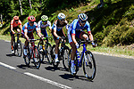 The breakaway including Anthony Turgis (FRA) Total Direct Energie, Tony Gallopin (FRA) AG2R La Mondiale, Odd Christian EIking (NOR) Wanty-Gobert, Mads Wurtz Schmidt (DEN) Katusha-Alpecin and Michael Schar (SUI) CCC Team during Stage 10 of the 2019 Tour de France running 217.5km from Saint-Flour to Albi, France. 15th July 2019.<br /> Picture: ASO/Pauline Ballet | Cyclefile<br /> All photos usage must carry mandatory copyright credit (© Cyclefile | ASO/Pauline Ballet)
