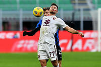 Karol Linetty of Torino FC and Nicolo Barella of FC Internazionale compete for the ball during the Serie A football match between FC Internazionale and Torino FC at stadio San Siro in Milano (Italy), November 22th, 2020. Photo Image Sport / Insidefoto