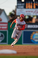 Williamsport Crosscutters Nicolas Torres (9) running the bases during a NY-Penn League game against the Batavia Muckdogs on August 25, 2019 at Dwyer Stadium in Batavia, New York.  Williamsport defeated Batavia 10-3.  (Mike Janes/Four Seam Images)