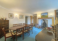 BNPS.co.uk (01202 558833)<br /> Pic: LillicrapChilcott/BNPS<br /> <br /> Pictured: The farmhouse dining room.<br /> <br /> A sprawling waterfront estate that has been in the same family for half a century is on the market for £2.25m.<br /> <br /> Bellscat Farmhouse is a pretty Grade II listed home with beautiful far-reaching views over Fowey River in Cornwall.<br /> <br /> The grand four-bedroom home looks a far cry from a typical farmhouse and is believed to have been two farm cottages that were converted into one home.<br /> <br /> There is also a separate two-bedroom barn and the properties sit in 37 acres of undulating land, creating a private and scenic estate.