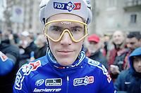 Yoann Offredo (FRA) wearing vintage Oakleys at the start in Milan<br /> <br /> 2014 Milano - San Remo