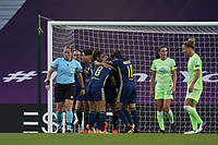 30th August 2020, San Sebastien, Spain;  Lyon celebrate their first goal from Eug nie Le Sommer on 25 min during the UEFA Womens Champions League football match Final between VfL Wolfsburg and Olympique Lyonnais.