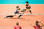 Wing spiker Risa Shinnabe of Japan (L) pass during the FIVB Volleyball World Grand Prix match between Japan vs Russia on 23 July 2017 in Hong Kong, China. Photo by Marcio Rodrigo Machado / Power Sport Images