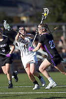 University at Albany attacker Kathleen Lennon (23) on the attack. University at Albany defeated Boston College, 11-10, at Newton Campus Field, on March 30, 2011.