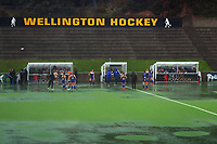 The Auckland Blue v North Harbour 1 final is washed out. Under-18 Hockey Tournament finals day at National Hockey Stadium in Wellington, New Zealand on Saturday, 17 July 2021. Photo: Dave Lintott / lintottphoto.co.nz https://bwmedia.photoshelter.com/gallery-collection/Under-18-Hockey-Nationals-2021/C0000T49v1kln8qk