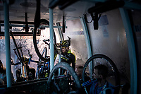 Damien Howson (AUS/Mitchelton-Scott) & his bike cramped into a gondola to bring him & his colleagues back down off the mountain after finishing the stage where the weather turned foul in the finale > the trip didn't went as smooth as hoped as they spent 40 minutes getting down<br /> <br /> Stage 9: Andorra la Vella to Cortals d'Encamp (94km) - ANDORRA<br /> La Vuelta 2019<br /> <br /> ©kramon