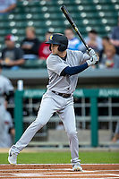 Tyler Wade (9) of the Scranton/Wilkes-Barre RailRiders at bat at Victory Field on May 14, 2019 in Indianapolis, Indiana. The Indians defeated the RailRiders 4-2. (Andrew Woolley/Four Seam Images)
