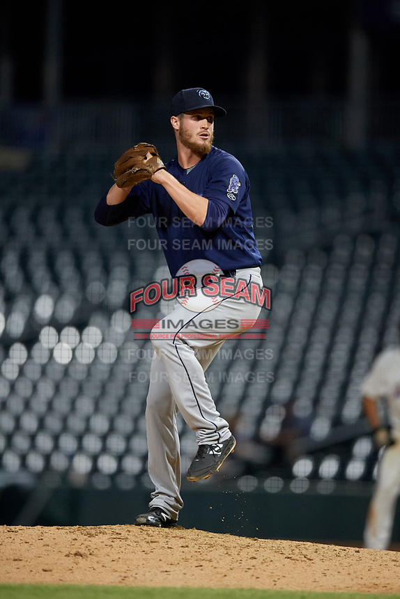 Mobile BayBears relief pitcher Ryan Clark (46) during a Southern League game against the Jacksonville Jumbo Shrimp on May 28, 2019 at Baseball Grounds of Jacksonville in Jacksonville, Florida.  Mobile defeated Jacksonville 2-1.  (Mike Janes/Four Seam Images)