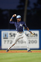 Charlotte Stone Crabs shortstop Lucius Fox (2) throws to first base during the first game of a doubleheader against the St. Lucie Mets on April 24, 2018 at First Data Field in Port St. Lucie, Florida.  St. Lucie defeated Charlotte 5-3.  (Mike Janes/Four Seam Images)