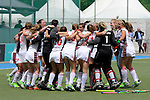 GER - Mannheim, Germany, June 04: During the Final4 semi-final Damen hockey match between Muenchner SC (red) and Rot-Weiss Koeln(white) on June 4, 2016 at Mannheimer HC in Mannheim, Germany. Final score 0-1 (HT 0-0). (Photo by Dirk Markgraf / www.265-images.com) *** Local caption *** Players of Rot-Weiss Koeln celebrate after winning the semi-final and advance to the final