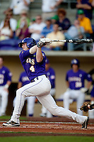 LSU Tigers outfielder Raph Rymes #4 at bat against the Mississippi State Bulldogs during the NCAA baseball game on March 17, 2012 at Alex Box Stadium in Baton Rouge, Louisiana. The 10th-ranked LSU Tigers beat #21 Mississippi State, 4-3. (Andrew Woolley / Four Seam Images).