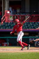 Harrisburg Senators Omar Meregildo (44) bats during a game against the Erie Seawolves on September 5, 2021 at UPMC Park in Erie, Pennsylvania.  (Mike Janes/Four Seam Images)