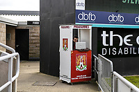 10th October 2020; Sixfields Stadium, Northampton, East Midlands, England; English Football League One, Northampton Town versus Peterborough United; A photographer takes advantage of the spare programme hut.