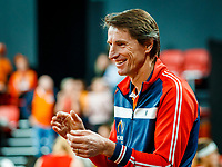 The Hague, The Netherlands, Februari 8, 2020,    Sportcampus, FedCup  Netherlands -  Balarus, Doubles: Bertens/Schuurs (NED), the Dutch bench with Captain Paul Haarhuis<br /> Photo: Tennisimages/Henk Koster